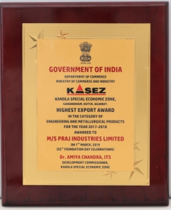 Highest Export Award for Praj Kandla Unit on KASEZ Foundation Day